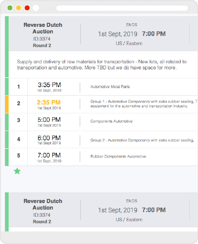 Web screen of procureport's reverse auction dashboard with Reverse Auction lot information example