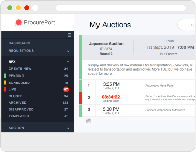 Web screen with close up of procureport's side menu in My Auctions dashboard